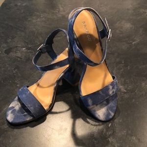 Brand New Bamboo Denim Heeled Sandals